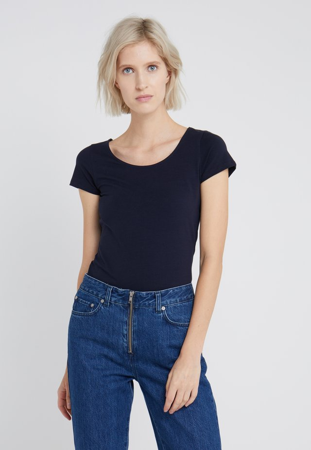 SCOOP NECK TOP - Jednoduché triko - navy