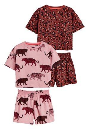 2 PACK LEOPARD PRINT SHORT PYJAMAS - Pyžamová sada - brown