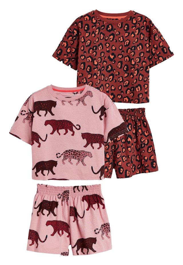 RUST/PINK 2 PACK LEOPARD PRINT SHORT PYJAMAS (3-16YRS) - Pyjama - brown
