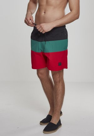 Badeshorts - firered/black/green