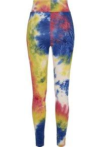 Urban Classics - TIE DYE HIGH WAIST  - Leggings - Trousers - royalblue/brightyellow - 7