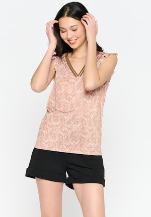 SHORT BUTTERFLY-SLEEVED - Top - camel