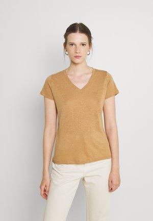 V NECK TEE - Basic T-shirt - tobacco brown