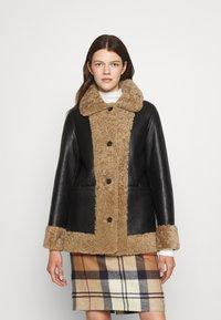 STUDIO ID - OLIVIA CONTRAST FRONT JACKET - Winter jacket - black/cream - 0
