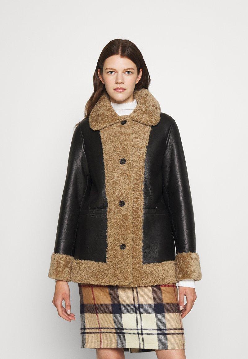 STUDIO ID - OLIVIA CONTRAST FRONT JACKET - Winter jacket - black/cream