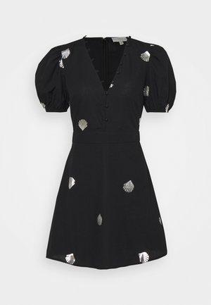 MINI DRESS WITH SHELLS AND STAR FISH - Shirt dress - black