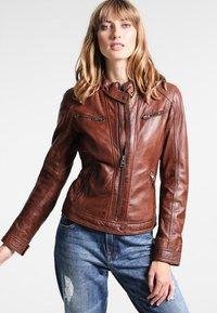 Oakwood - Leather jacket - tobacco - 0