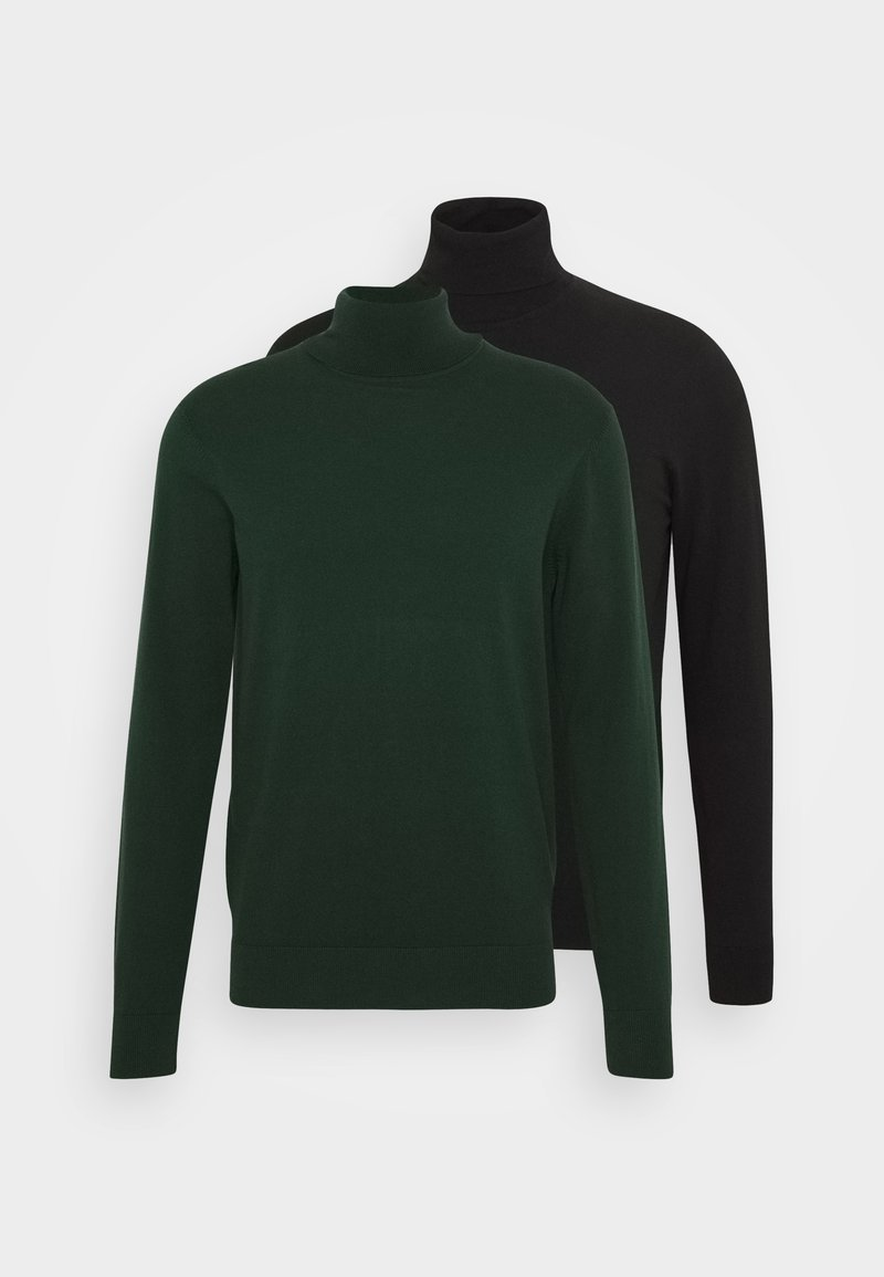 Pier One - 2 PACK - Jumper - black/dark green