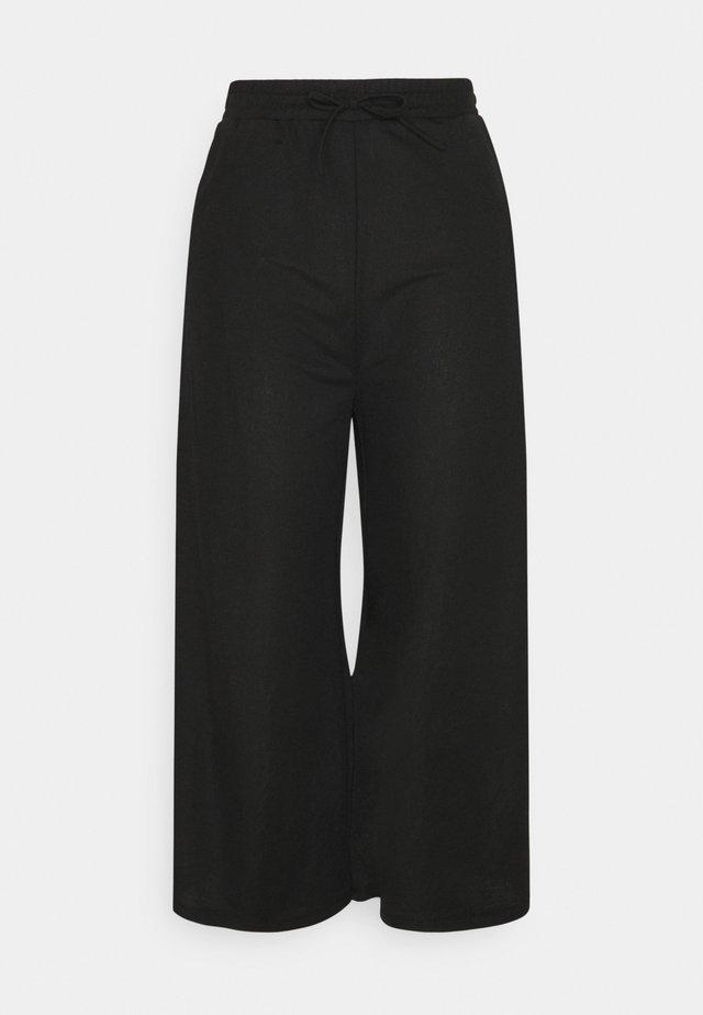 TIE WAIST JERSEY CULOTTE - Trousers - black