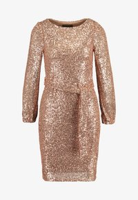 Dorothy Perkins - SEQUIN LONG SLEEVE FIT AND FLARE - Juhlamekko - rose gold - 5