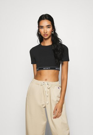 SCRIPT CROP - Basic T-shirt - black/white