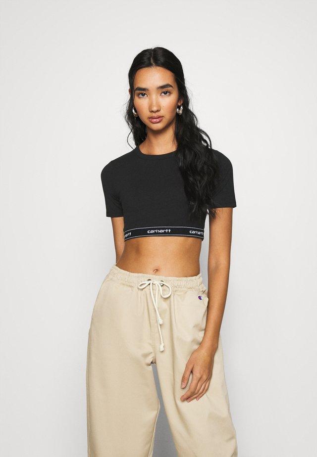 SCRIPT CROP - T-shirt basique - black/white