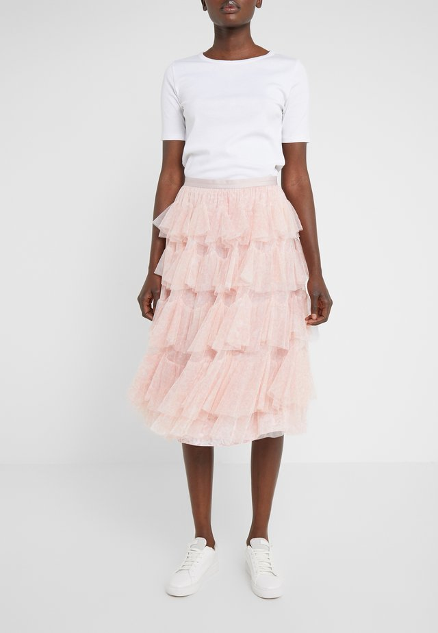 FLORALSCALLOPED MIDAXI SKIRT - Jupe trapèze - french rose