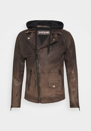 BE READY - Leather jacket - sand