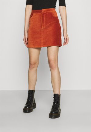 MINI CORDUROY HIGH ELASTIC WAIST SKIRT - Mini skirt - brown