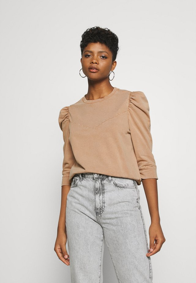 NMISAAC SLEEVE PUFF - Sweater - brown sugar/acid wash