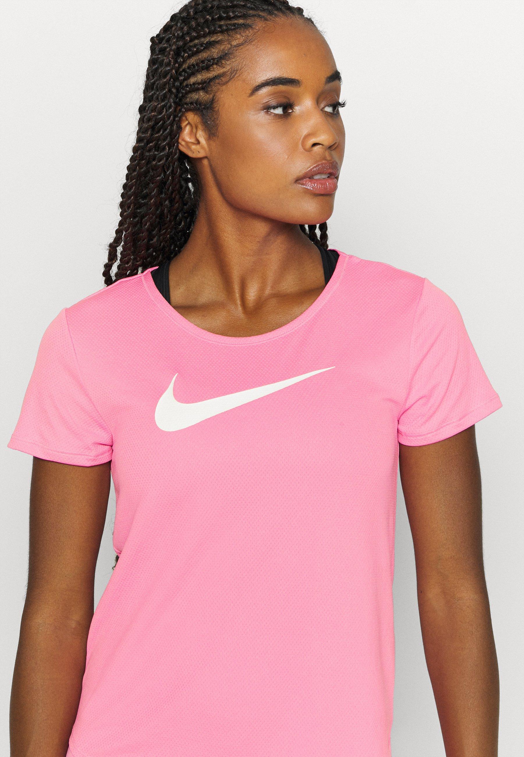Nike Performance RUN - Print T-shirt - pink glow/white bCDID