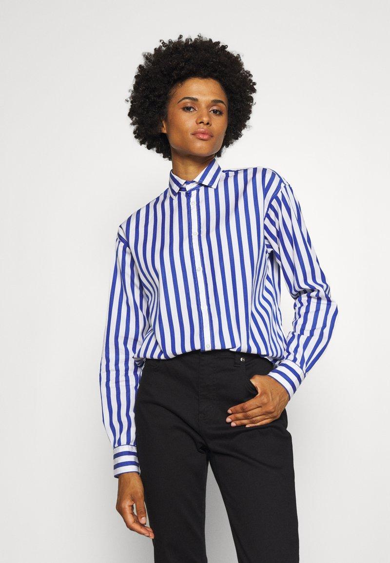 Polo Ralph Lauren - LONG SLEEVE - Button-down blouse - white/medium blue