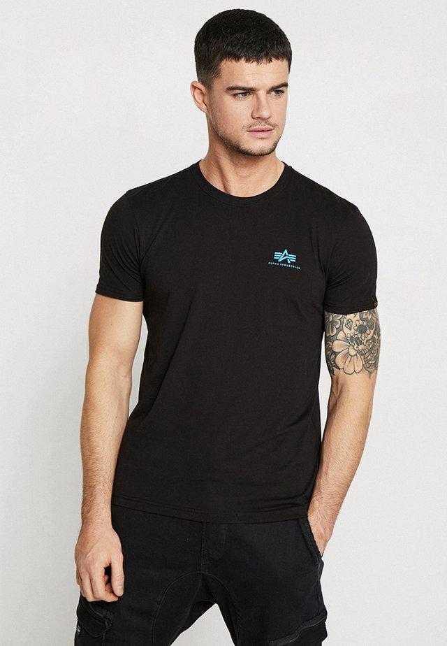 Print T-shirt - black/blue