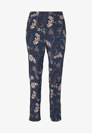 LOOSE FIT - Trousers - navy floral design