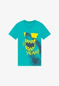 Benetton - T-shirt con stampa - light blue - 2