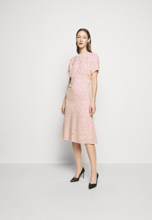 GATHERED FLARE MIDI - Day dress - cream red