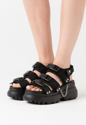 VEGAN SULFUR - Sandály na platformě - black