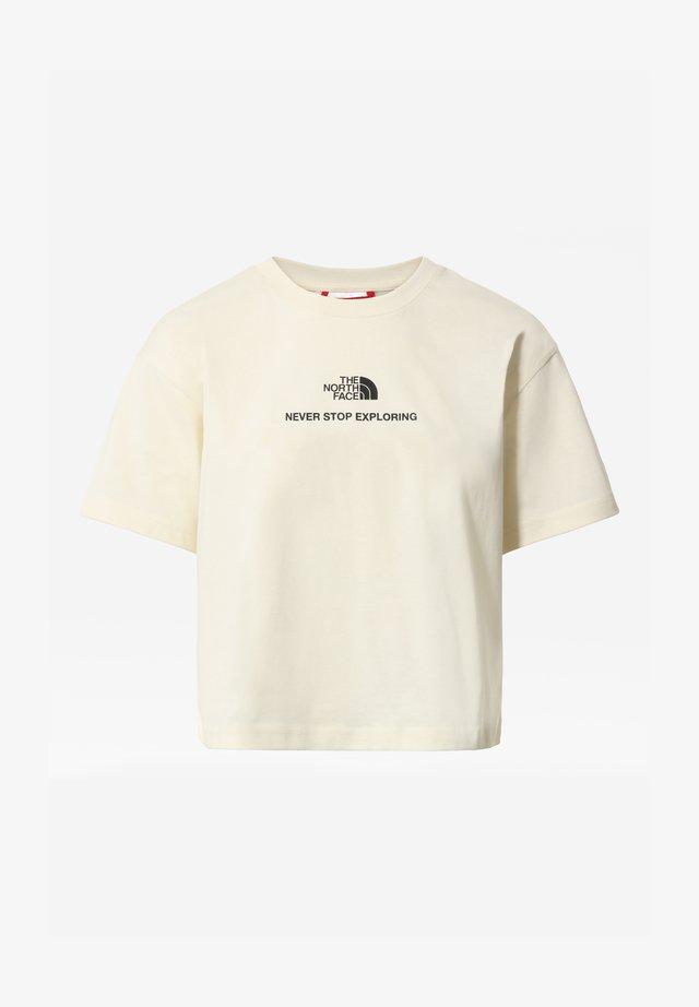 W LOGO CROPPED TEE - T-shirt print - vintage white/tnf black