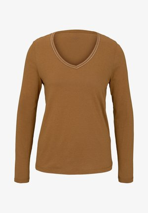 MIT V-AUSSCHNITT - Long sleeved top - tawny brown