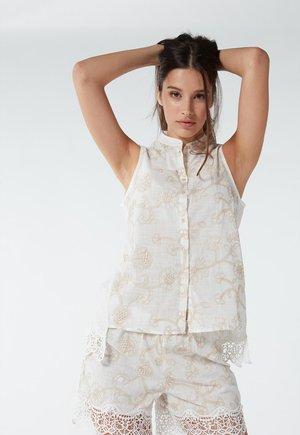Pyjama top - natürlich talc white/natural beige