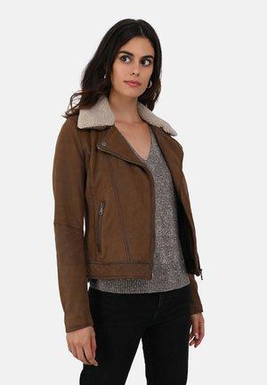 FOLLOWER - Leather jacket - tobacco