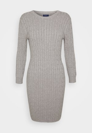 STRETCH CABLE DRESS - Jumper dress - grey melange