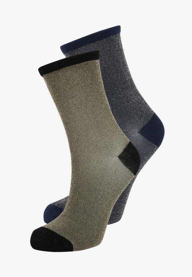 DINA SOLID GLITTER  2 PACK - Ponožky - medieval blue/gold
