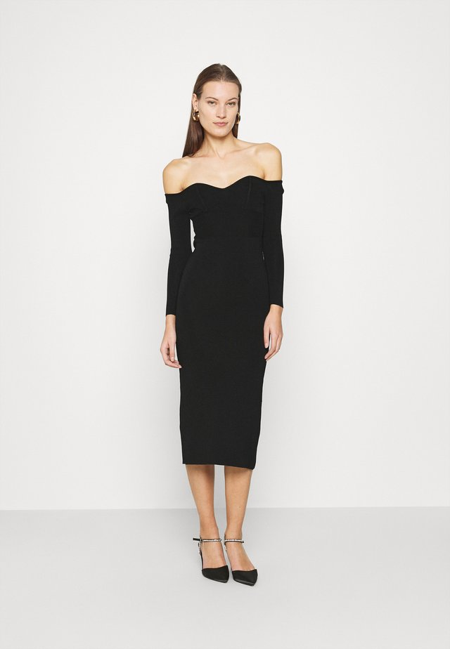 OFF THE SHOULDER DRESS - Gebreide jurk - black