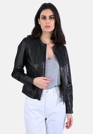 PENNY - Leather jacket - black