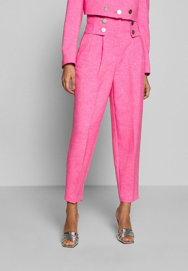 Topshop - PINK BUTTON DETAIL  - Pantalones - pink