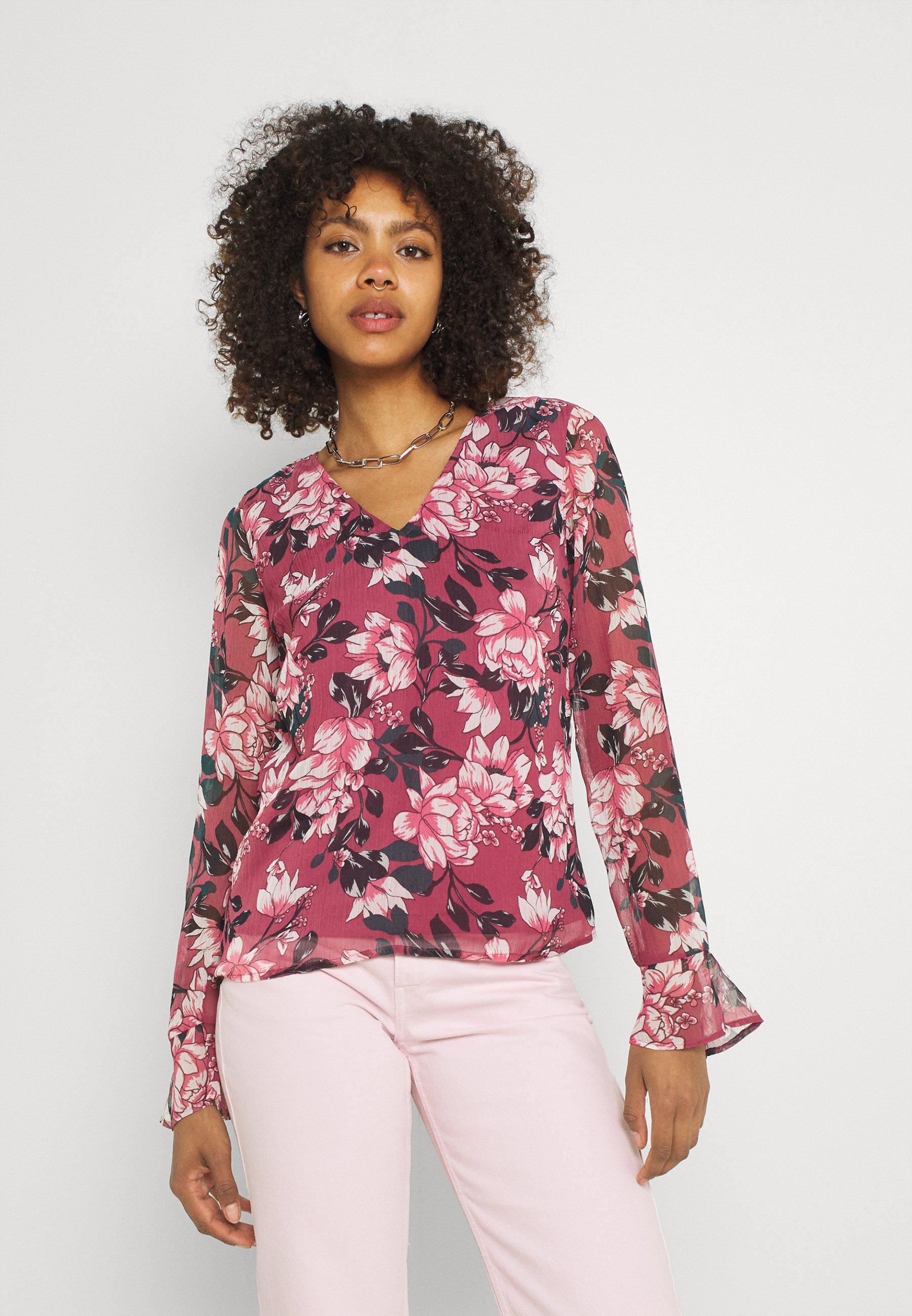 Women VIFALIA V-NECK BLOUSE - Blouse - pink rose flower