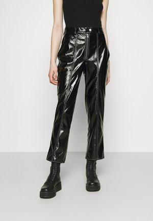 CONTRAST SEAM PANTS - Kalhoty - black