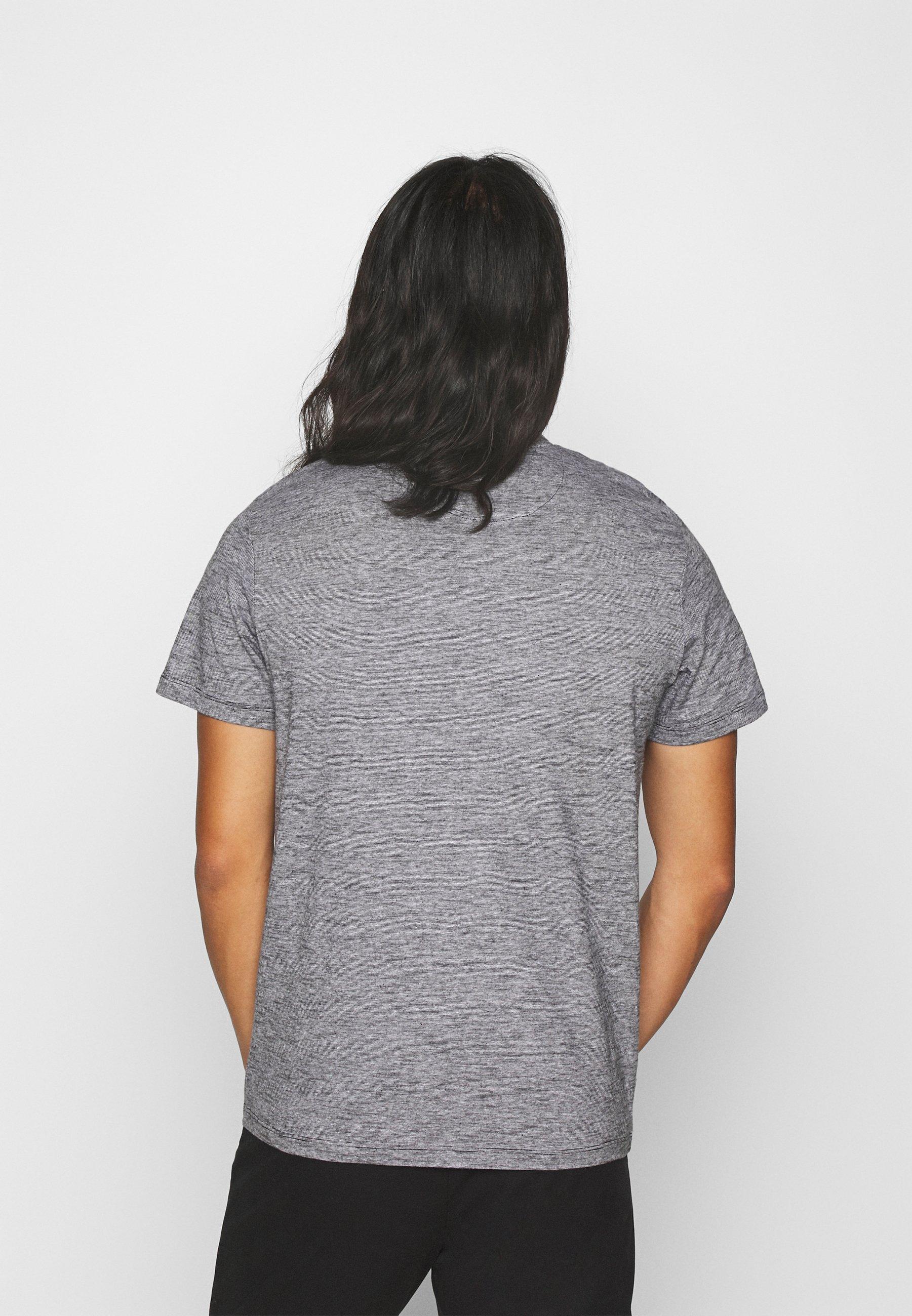 TOM TAILOR FINELINER WITH POCKET - Print T-shirt - black thin white stripe 7qCin