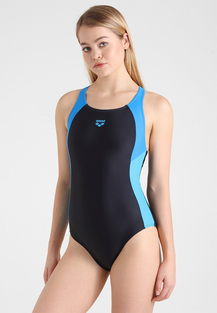 Arena - REN ONE PIECE - Swimsuit - black/pix blue/turquoise