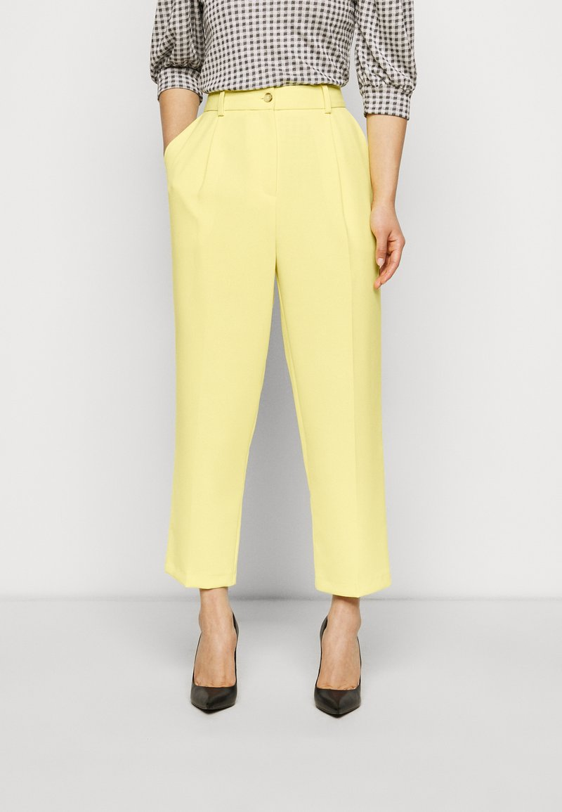 Topshop Petite - CLEAN STRAIGHT TROUSERS - Trousers - yellow