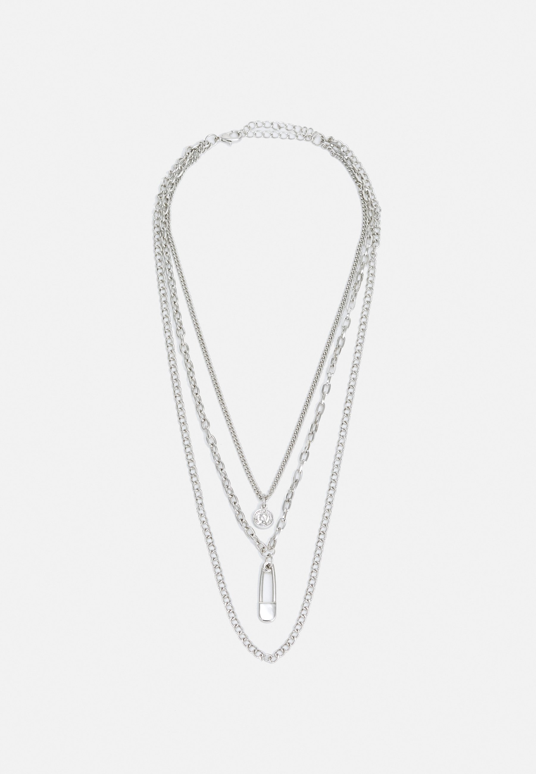Men SAFETY PIN LAYERING NECKLACE UNISEX - Necklace