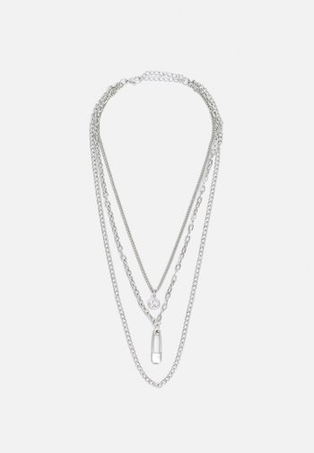 SAFETY PIN LAYERING NECKLACE UNISEX - Necklace - silver-coloured