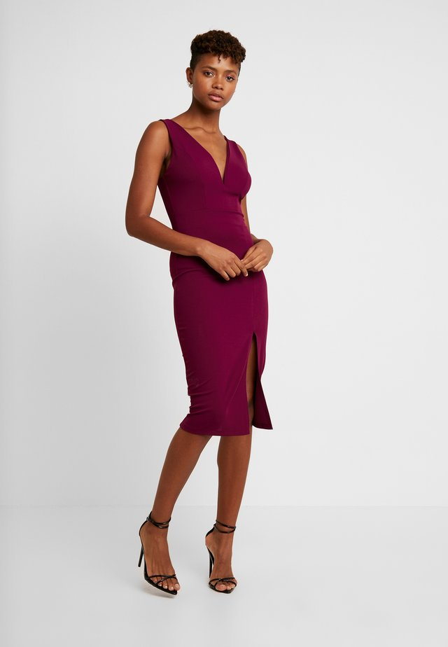 V NECK MIDI - Shift dress - plum