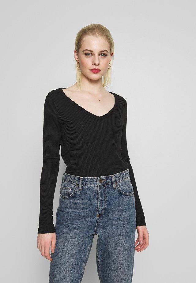 PLUSH SOLID - Long sleeved top - true black