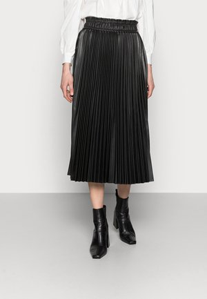 VMPAULINA PLISSE MEDI SKIRT - Pleated skirt - black
