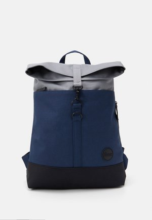 CITY FOLD TOP BACKPACK - Rucksack - navy/black recycled base/grey top