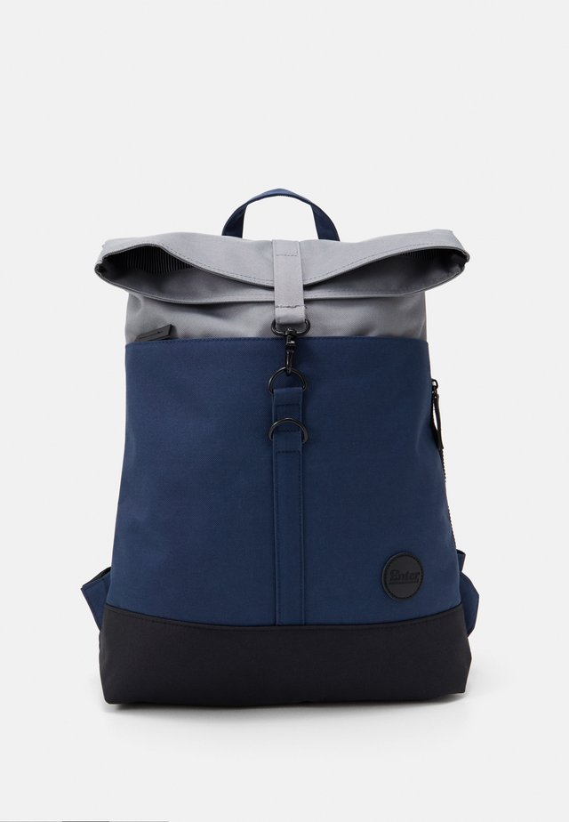 CITY FOLD TOP BACKPACK - Zaino - navy/black recycled base/grey top