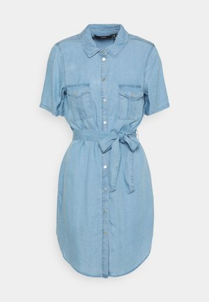 VMSILJA SHORT SHIRT DRESS - Denim dress - light blue denim