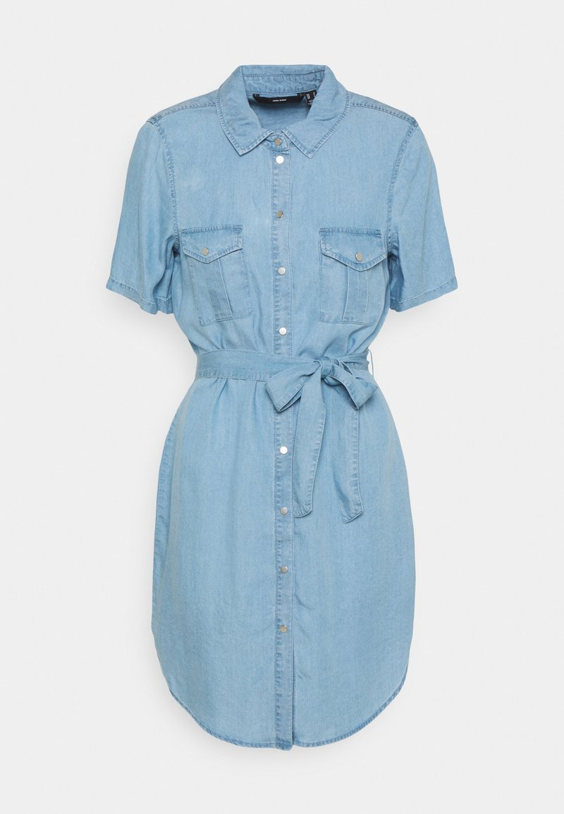 Vero Moda - VMSILJA SHORT SHIRT DRESS - Vestido vaquero - light blue denim